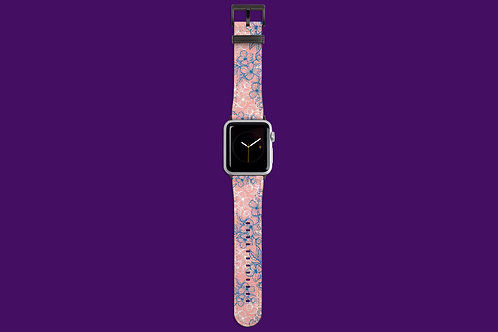 Blue and White Flower Outlines on Pink Apple Watch Strap