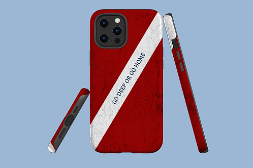 Go Deep or Go Home Dive Flag iPhone Case