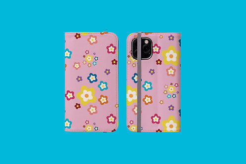 Colourful Flowers on Pink iPhone Folio Wallet Case