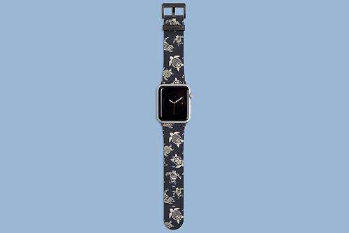 Beige Sea Turtles on Grey Blue Apple Watch Strap