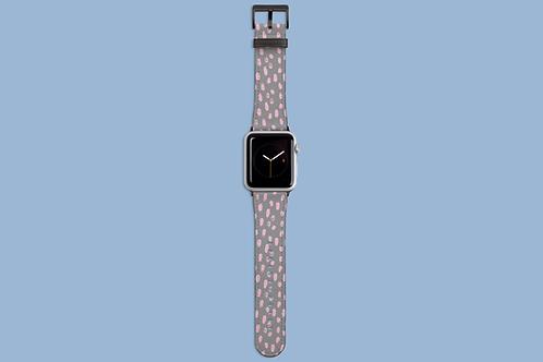 Pink Flecks on Grey Apple Watch Strap
