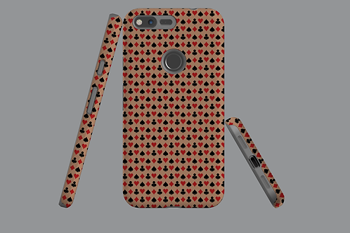 Playing Card Suits on Brown Google Pixel Case
