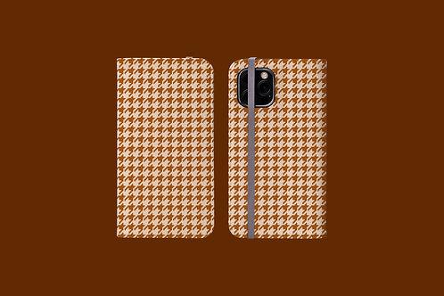 Beige Houndstooth iPhone Folio Wallet Case