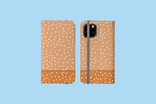 Two Tone Nude Polka Dots iPhone Folio Wallet Case