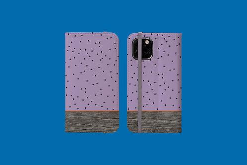 Driftwood Purple Squares iPhone Folio Wallet Case