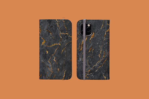 Black and Gold Marble iPhone Folio Wallet Case