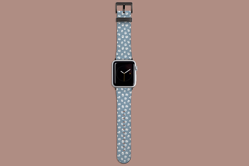 Abstract White Roses on Light Blue Apple Watch Strap