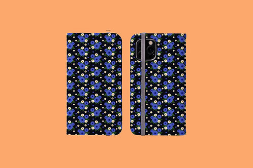 Blue and White Daisies iPhone Folio Wallet Case