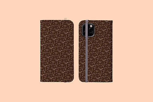 Chocolate Music Notes iPhone Folio Wallet Case