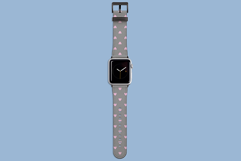 Pink Hearts on Grey Apple Watch Strap