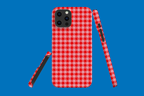 Red and Pink Houndstooth iPhone Case