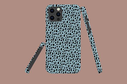 Black Pattern on Light Blue iPhone Case