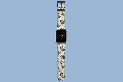 Grey Sea Turtles on Beige Apple Watch Strap