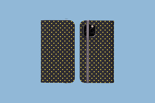 Yellow Polka Dots on Polar Night iPhone Folio Wallet Case