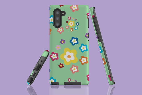 Colourful Flowers on Green Samsung Galaxy Case