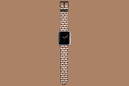 Playing Card Suits on Beige Apple Watch Strap