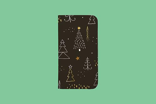 Golden Christmas Trees iPhone Folio Wallet Case