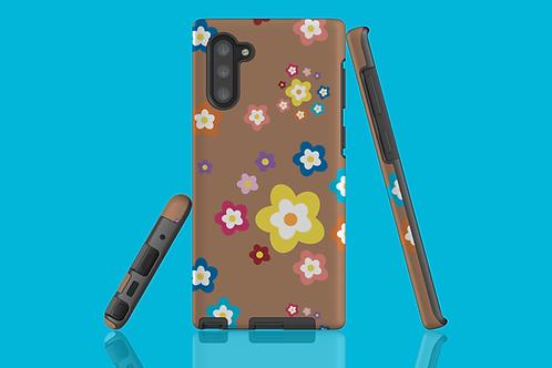 Colourful Flowers on Coffee Samsung Galaxy Case