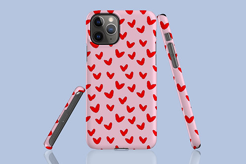 Red Hearts on Candy Pink iPhone Case