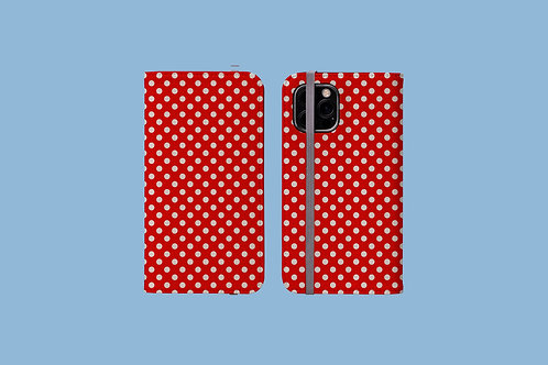 Red Polka Dots Picnic Blanket iPhone Folio Wallet Case