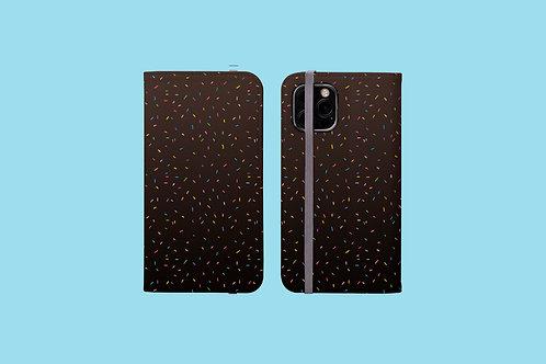 Rainbow Sprinkles on Dark Gradient iPhone Folio Wallet Case
