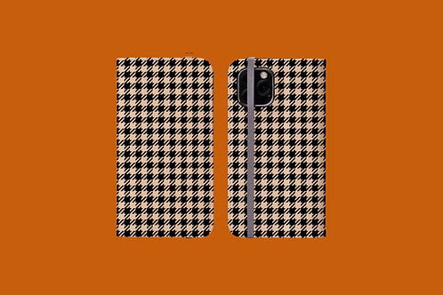 Black and Nude Houndstooth iPhone Folio Wallet Case