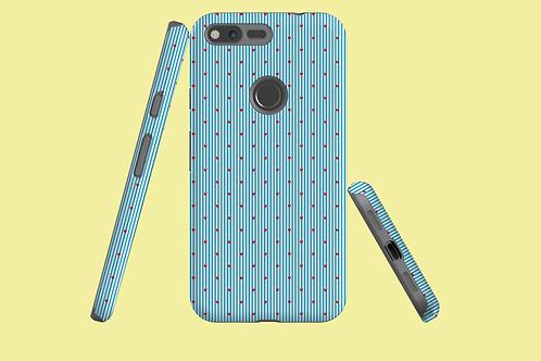 Hearts on Blue Pinstripes Google Pixel Case
