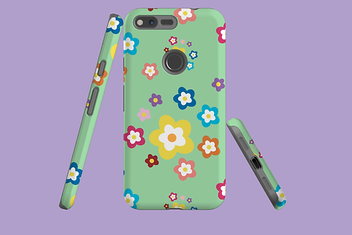 Colourful Flowers on Green Google Pixel Case