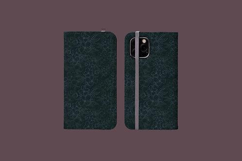 Black Flower Outlines on Dark Green iPhone Folio Wallet Case