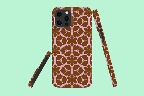 Pink and Tan Flowers iPhone Case