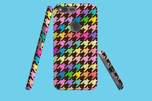 Pastel Rainbow and Brown Houndstooth Google Pixel Case
