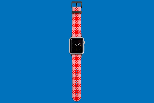 Red and Pink Houndstooth Apple Watch Strap