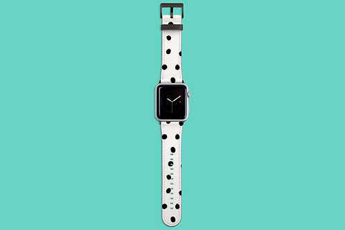 Black and White Polka Dots Apple Watch Strap
