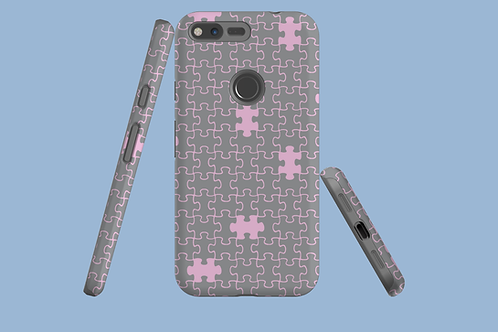 Pink and Grey Jigsaw Google Pixel Case