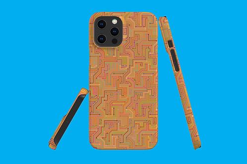 Circuit Board Tan iPhone Case