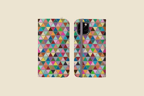 Multicolour Triangles iPhone Folio Wallet Case