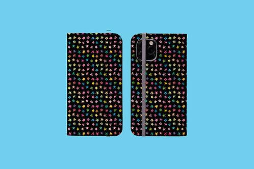Rainbow Stars on Black iPhone Folio Wallet Case