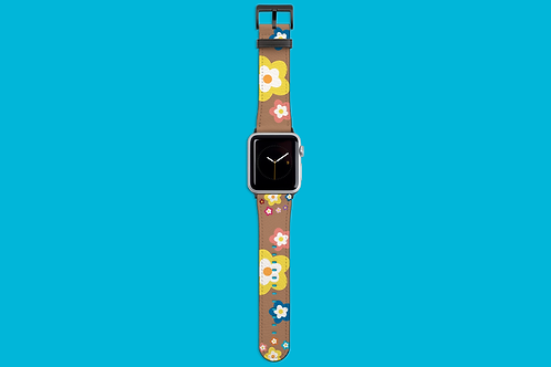 Colourful Flowers on Coffee Apple Watch Strap