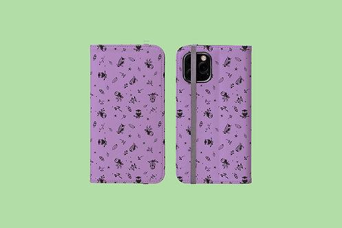 Purple Owls iPhone Folio Wallet Case