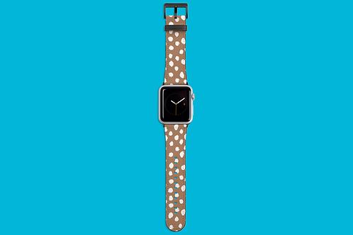 White Dawbs on Coffee Apple Watch Strap
