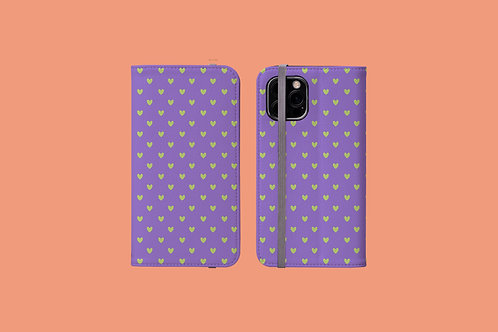 Violet and Green Tiny Hearts iPhone Folio Wallet Case