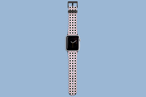 Black White and Pink Squares Apple Watch Strap