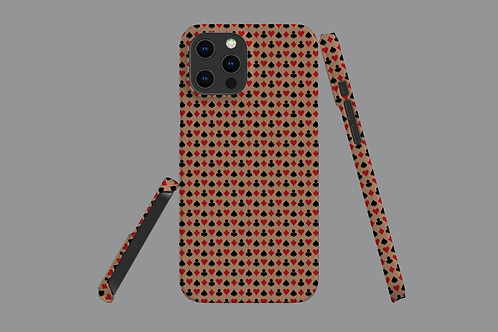 Playing Card Suits on Brown iPhone Case