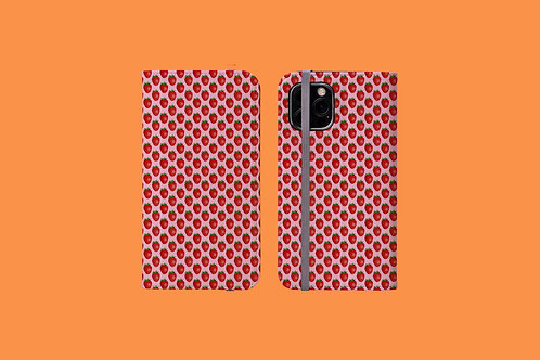 Pink Strawberry iPhone Folio Wallet Case