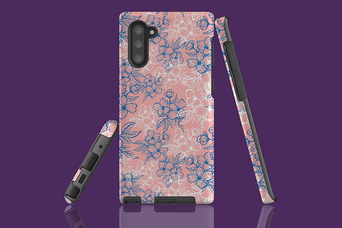 Blue and White Flower Outlines on Pink Samsung Galaxy Case