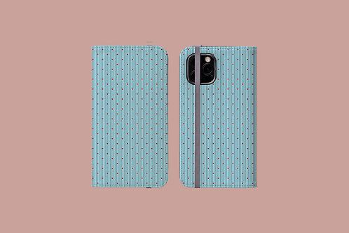 Hearts on Blue Pinstripes iPhone Folio Wallet Case
