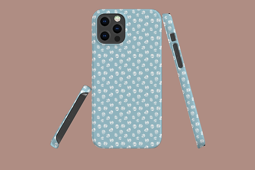Abstract White Roses on Icy Blue iPhone Case