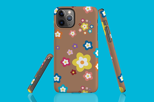 Colourful Flowers on Brown iPhone Case