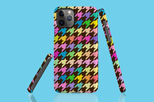 Pastel Rainbow and Brown Houndstooth iPhone Case