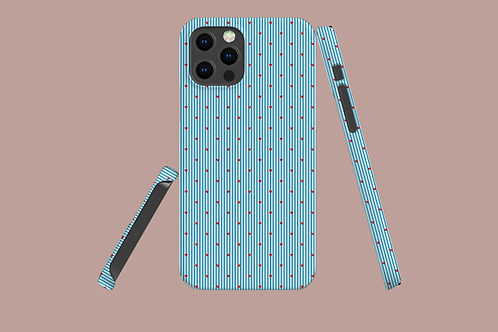 Hearts on Blue Pinstripes iPhone Case
